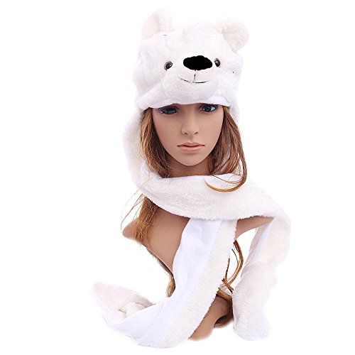 Easy-W Polar Bear Animal Hat Winter Hat Fluffy Warm Cap Mittens Scarf -