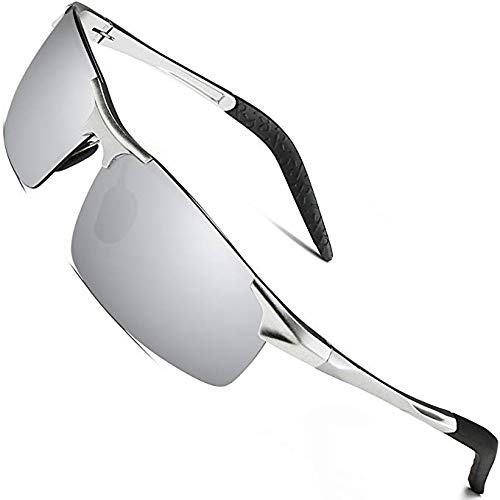 Sports Polarized Sunglasses for Men - wearPro Driving Sunglasses Al-Mg Metal Frame WP1005(silver/silver, 2.16)