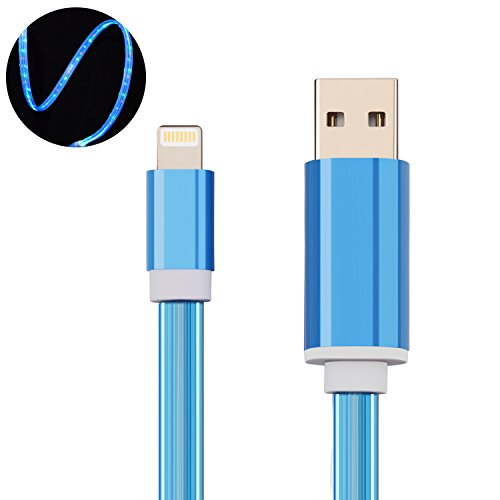 Lightning charger cable,Bestdo iphone USB charging flowing Fiber optic LED light up 3.5FT for iPhone X/ 8 / 7/ 6 / 6s /iPad/ iPod(ios sky blue)