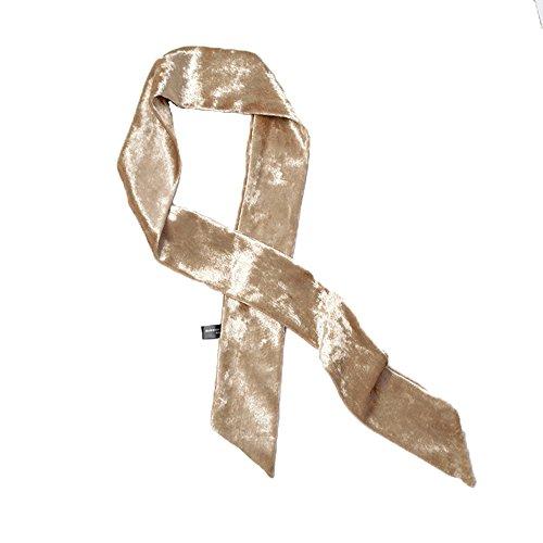 Women's Skinny Scarf Neck Choker Headband Velvet Tie Ribbon Sash Belt Bow (Champagne) (Scarf Belt Sash Silk)