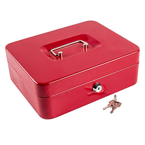 (Kyodoled Metal Cash Box with Money Tray and Lock,Money Box with Cash Tray,Cash Drawer,9.84