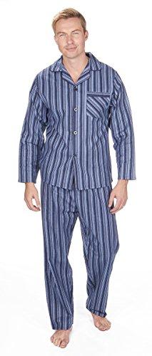 Cargo Bay Mens Striped Cotton Flannel Pajama Set Navy Stripe - Pajamas Blue Striped