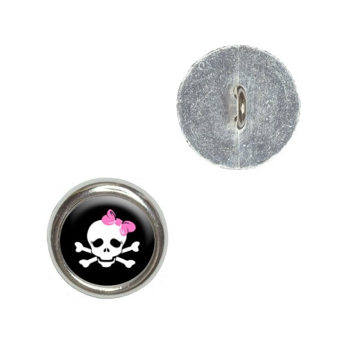 Skulls and Crossbones Daughter Stick Figure Family - Girl Metal Craft Sewing Novelty Buttons - Set of 4