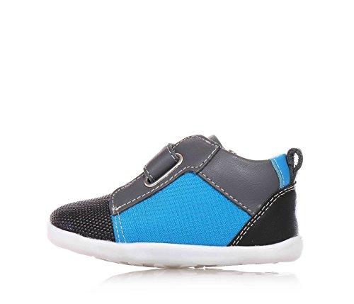 BOBUX - Hellblauer, schwarzer und grauer Schuh aus Leder und Stoff, äußerst flexibel, erlaubt ein unbeschränktes Wachstum, mit ungiftigen Färbemitteln und Materialien hergestellt, Jungen