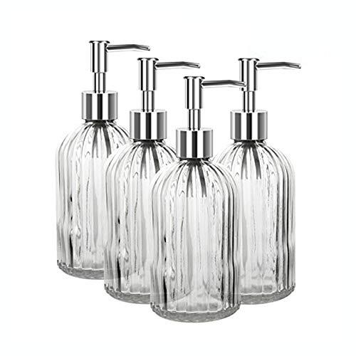 Soap Dispenser 4 Pack, 15 Oz Glass Kitchen Soap Dispenser with Pump, Premium Clear Soap Dispenser, Refillable Liquid…