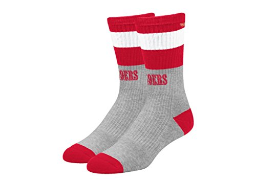 San Francisco 49ers NFL Team Wordmark Striped Gray and Team Color Mens Socks (L (Gray Striped Team Colors)