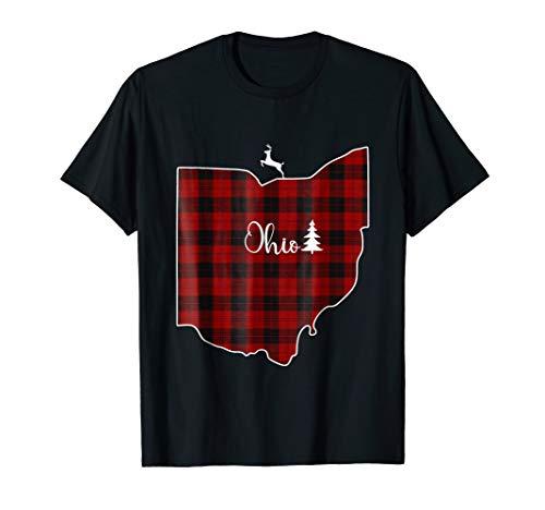 (Ohio State Red Plaid Reindeer Xmas Tree Gift Family Shirt)