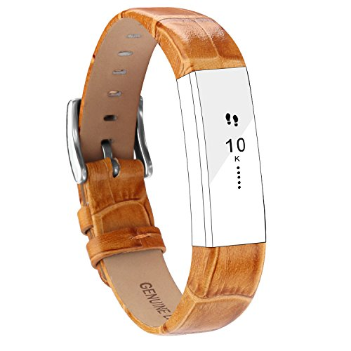 POY Replacement Bands Compatible for Fitbit Alta and Fitbit Alta HR, Genuine Leather Wristbands, Bamboo Brown