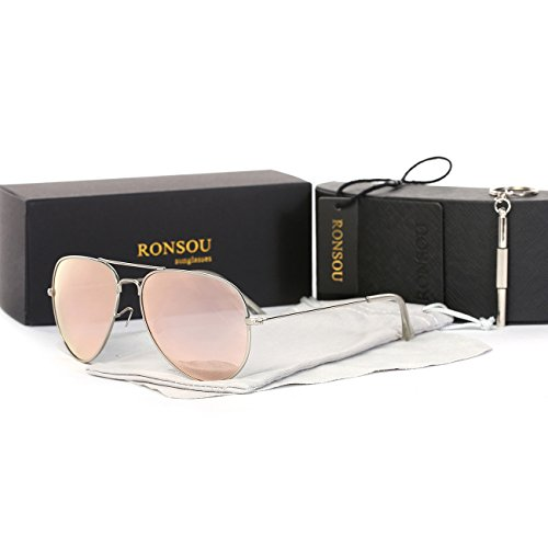Ronsou Classical Aviator Polarized Sunglasses Metal Frame Glasses For men and women silver frame/pink - Am Sale Sunglasses