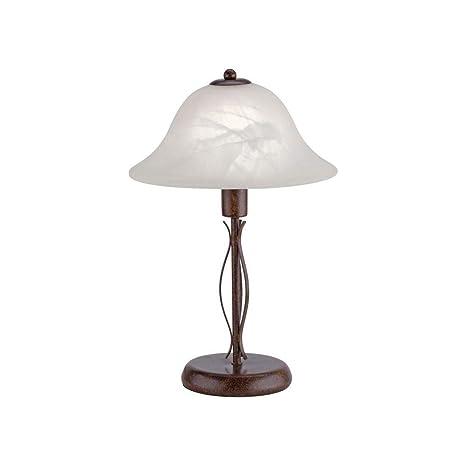 Klassisch Rustikale Tischlampe E14 Eisen Glas Rustikal schwarz