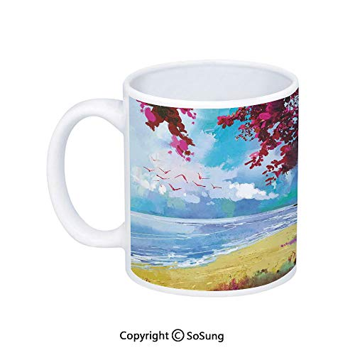Apartment Decor Coffee Mug,Floral Colored Blossom Trees on the Tropic Sandy Gold Beach Seascape Summer Print,Printed Ceramic Coffee Cup Water Tea Drinks Cup,Blue Pink Cream