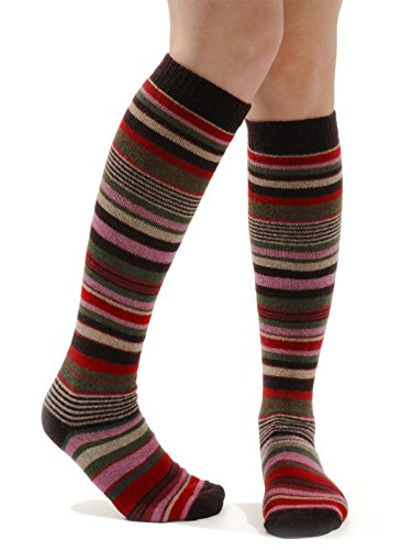 Womens Stripe Knee Socks Cashmere Blend 8 Color Options Color:: Raspberry