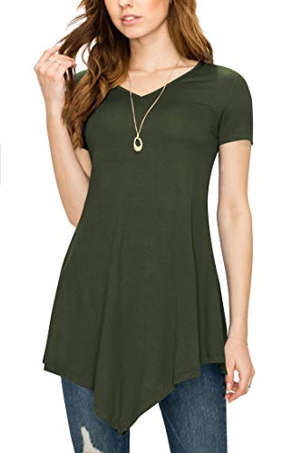 Made By Johnny MBJ WT638 Womens V Neck Asymmetrical Tunic Top XXL Olive