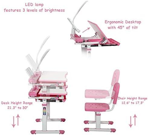 Diroan Kids Functional Desk And Chair Set, Height Adjustable Children School Study Desk With Tilt Desktop, Bookstand, LED Light, Metal Hook And Storage Drawer For Boys Girls (Pink)