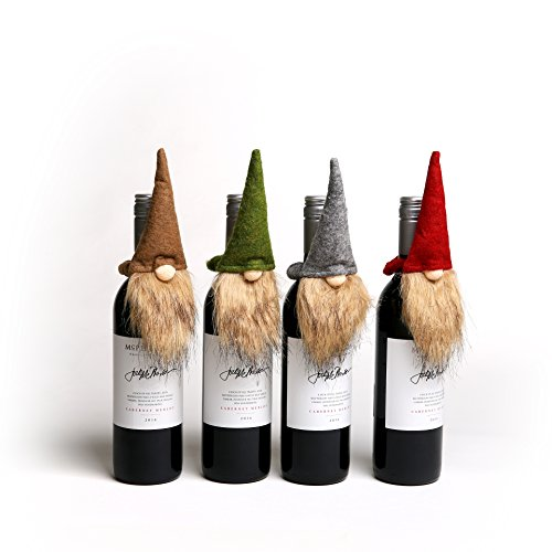 Handmade Swedish Tomte Bottle Topper, Mini Gnome Wine Bottle Topper for Home Christmas Decoration, Hostess/ Housewarming Gift, Party/ Wedding Favor Bottle Decor, 4 Packs