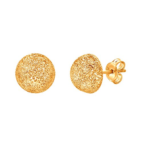 Silver Laser Cut Glimmer Half Ball Stud Earrings Yellow Gold Plated Made in Italy ()