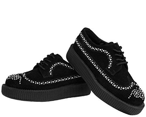 TUK AV8981 T.U.K. Zapatos de gamuza Negro tachonado brogue Creepers