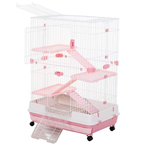 PawHut 32″L 4-Level Indoor Small Animal Rabbit Cage with Wheels – Pink