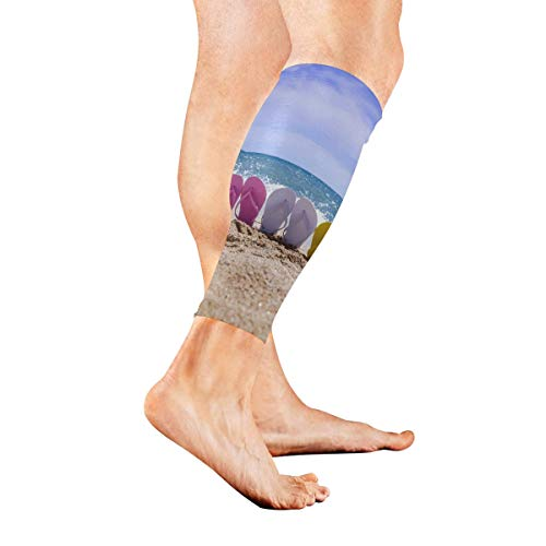 Premium Flip Flop Seat - Leg Sleeve Beach Flip Flops Compression Socks Support Non Slip Calf Sleeves Pads - Improve Circulation for Shin Splint, Calf Pain Recovery, Running, Cycling, Travel, 1 Pair