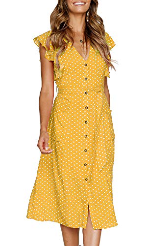 MITILLY Women's Summer Boho Polka Dot Sleeveless V Neck Swing Midi Dress with Pockets Medium Yellow