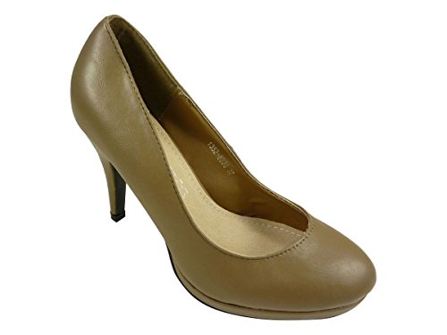 Taupe Rond Escarpins À Et Femmes Plateau Bout Chaussures 0qwAY5U