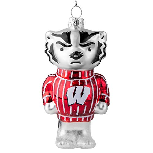 Topperscot Wisconsin Badgers Official NCAA Mascot Holiday Christmas Blown Glass Ornament 864549 ()