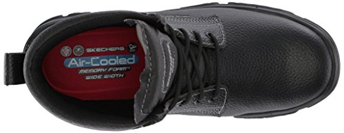 Skechers Mens Burgin-tarlac Industrial Boot Nero In Pelle Goffrata