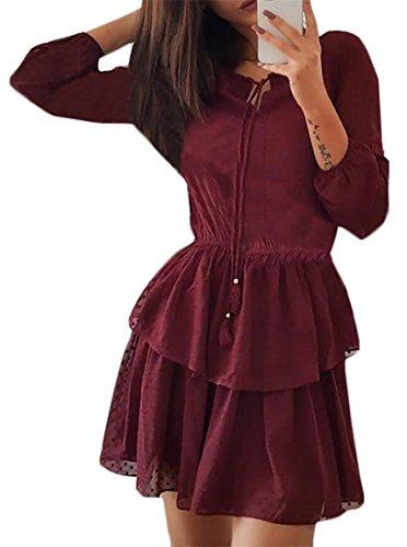 Jaycargogo Cou À Manches Pour Femmes De L'équipage Moitié Cordon De Serrage Balançoire En Mousseline De Soie Couleur Unie Robes Midi Vin Rouge