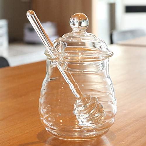 UPKOCH ハニーディッパーとキッチンレストランホーム用の蓋付きの2個のハニーポットガラス250ml