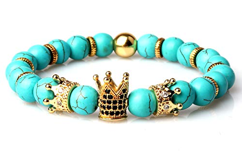 - GVUSMIL Imperial Crown Bead Bracelet King&Queen Natural Stone Turquoise Luxury Charm Couple Jewelry Easter Gifts for Women Men