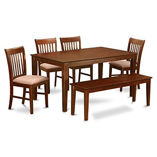 (East West Furniture CANO6C-MAH-C with Set 4 Chairs and Bench Dining Table, Microfiber Upholstered Seat, Mahogany Finish)