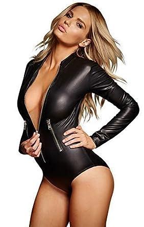 Womens PVC Wet Look Mesh Red Clubwear Bodysuit Romper Clubwear UK Size 6 8 10 12