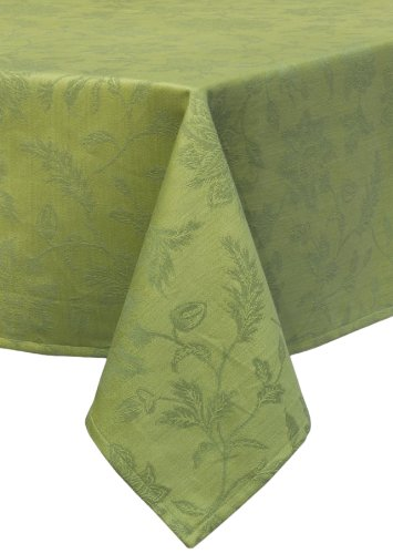 Mahogany Gardenia Jacquard Square Tablecloth, 60 by 60-Inch, Green ()