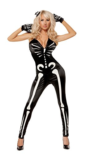 Sexy Women's Glow In The Dark Skeleton Jumpsuit Roleplay Costume, Medium, Black (Glow In The Dark Skeleton Suit)