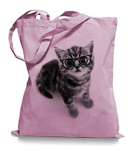 Ma2ca® Cat Big Eyes Stoffbeutel Jutebeutel Tasche Tragetasche / Bag WM101 Classic Pink