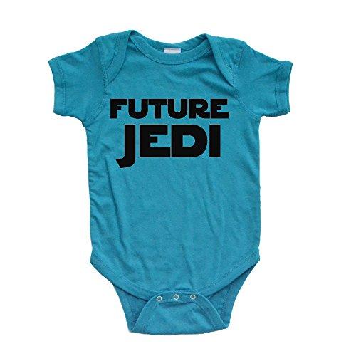 Apericots Cute Unisex Infant Future Jedi Turquoise Short Sleeve Baby Bodysuit (Newborn)