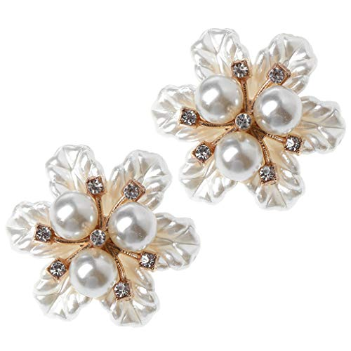 Simdoc 2pcs/set Shoe Clips Double Buckles,Shoe Decoration Floral Flower Pearl Ornaments Clothes Charms Shoes Supplies