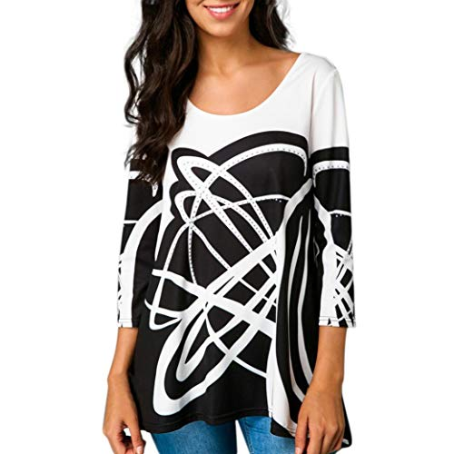 Clearance Sale!Fashion Womens Casual O-Neck T-Shirt Tops Three Quarter Sleeve Print Blouse ❤️ ZYEE