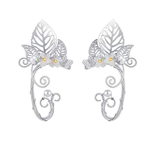 SXNK7 Chic Elf Pearl Hollowed Flower Leaf Cosplay Fairy Ear Wrap Cuffs Earrings for Women Girls Wedding Jewelry 1 Pair (Butterfly Leaf Flower) -