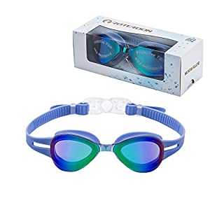 Kids Swimming Goggle Mirrored UV Protective, Anti Fog Colorful Funny Goggles Best Choose For Youth Juniors Children As Swimming Equipment From Online Amazon Store Roterdon (Blue)