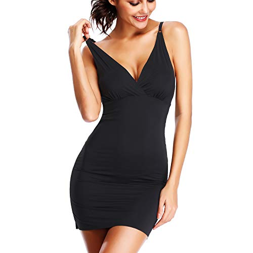 (Dress Slips for Women Under Dress Long Cami Adjustable Full Body Shaper Slip Shapewear V-Neck (Black-1, S/M))