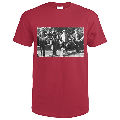 Fishermen Holding Up Strings Of Fish Photograph  Cardinal Red T Shirt Small