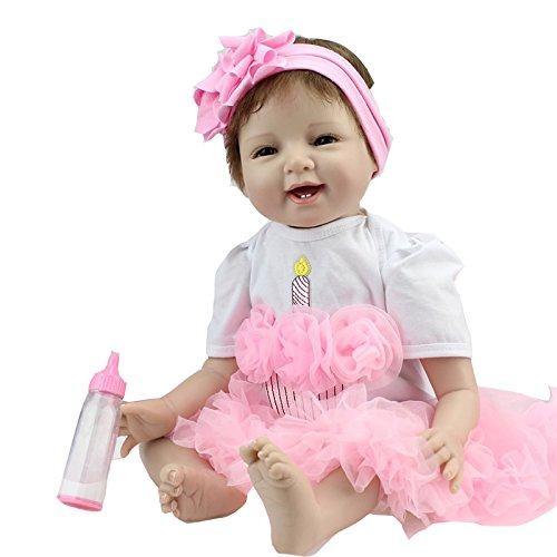 22 inch 55cm Reborn Baby Solid Silicone Dolls Handmade Realistic Lifelike Fashion Cute Lovely Baby