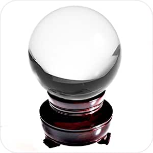 Amlong Crystal Clear Crystal Ball 80mm (3.1 in.) Including Wooden Stand and Gift Box