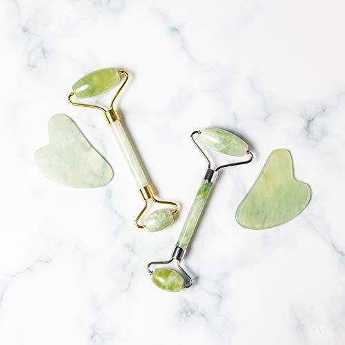 Jade Roller and Gua Sha Set – Jade Face Roller, 100% Natural Jade Stone Set, Dual Sided Face Massager, Stimulates Blood…