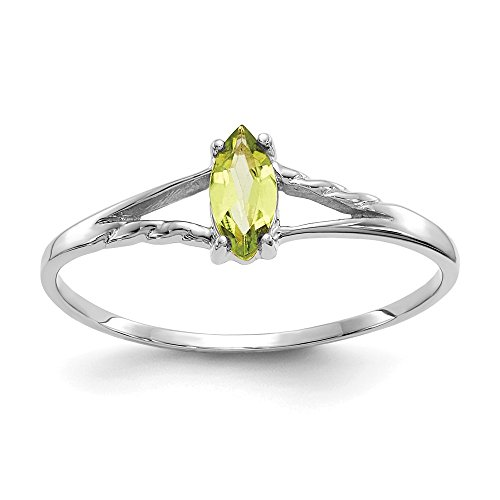 Diamond2Deal 10k White Gold 0.25CT Marquise Peridot Engagement Ring Size 6