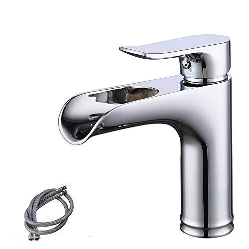 Stainless Steel Deck Mount 107 - KES NSF Bathroom Waterfall Faucet Single Handle LavatoryBasin Vanity Sink Lead Free Brass cUPC Faucet Tap Mixer Polished Chrome, L3121LF-CH