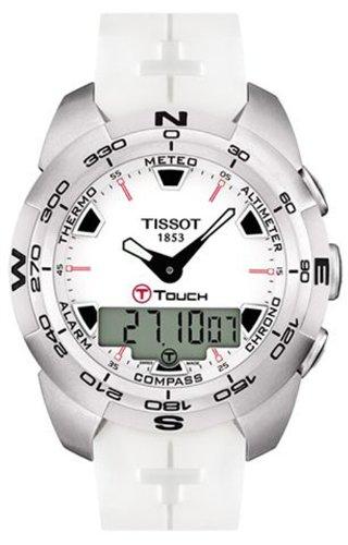 Tissot T0134201701100 - Reloj analógico - digital de caballero de cuarzo con correa de goma blanca: Amazon.es: Relojes
