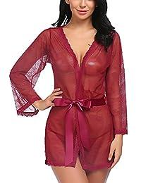 Avidlove Women Lace Kimono Robe Lingerie Satin Sleepwear Mesh Babydolls
