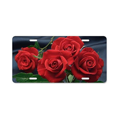 - CafePress - Red Roses - Aluminum License Plate, Front License Plate, Vanity Tag